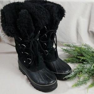 Khombu Black Nordic Lace Up Snow Boots Size 8M